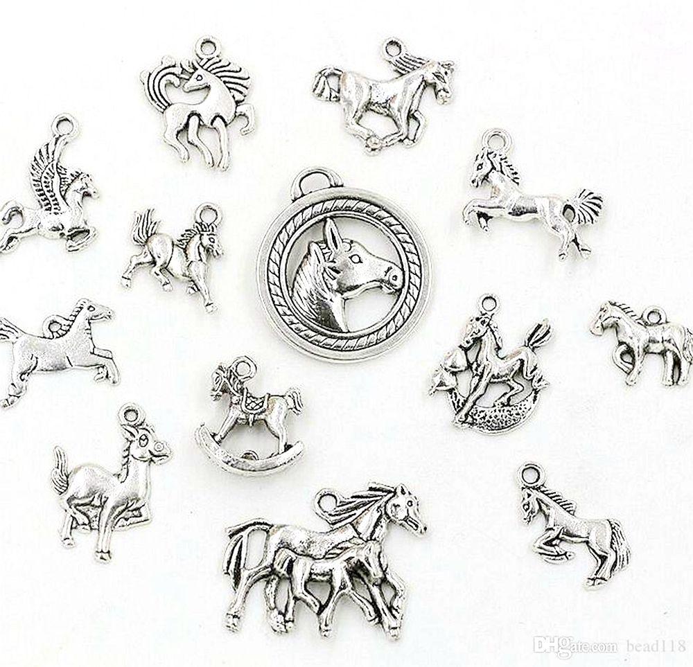 65 pz Antique argento in lega mista a cavallo ciondoli pendenti per gioielli per la creazione di accessori fai da te