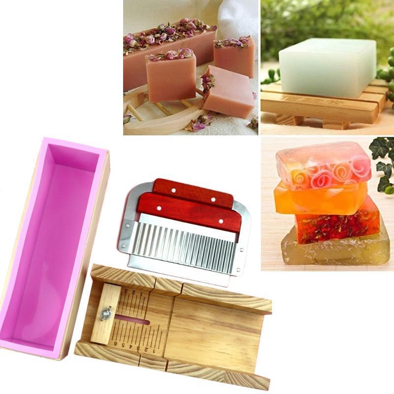 Definir molde de cortador de sabão de madeira e retângulo Silicone L5ye Cozer Pastelaria