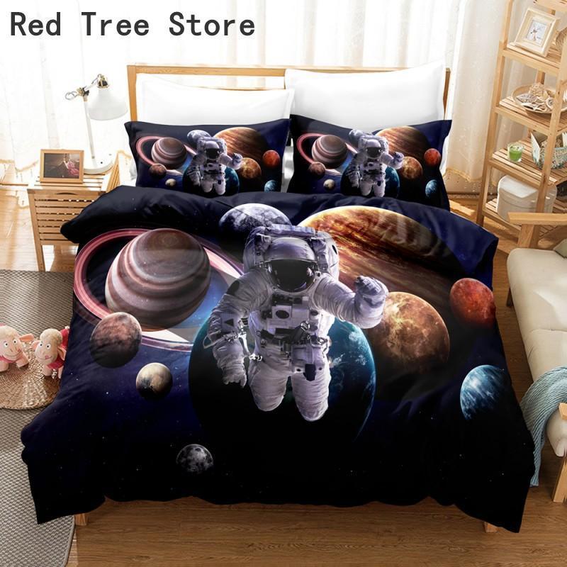 Bedding Sets Moon Astronaut Full Print Set Single Double King Size Planet Comforter Quilt Bedclothes Duvet Covers 2/3pcs Microfiber