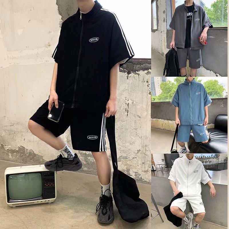 Os faixas dos homens feitos coreanos dois t-shirts para meninos e meninas terno de basquete verão moda hip hop shorts