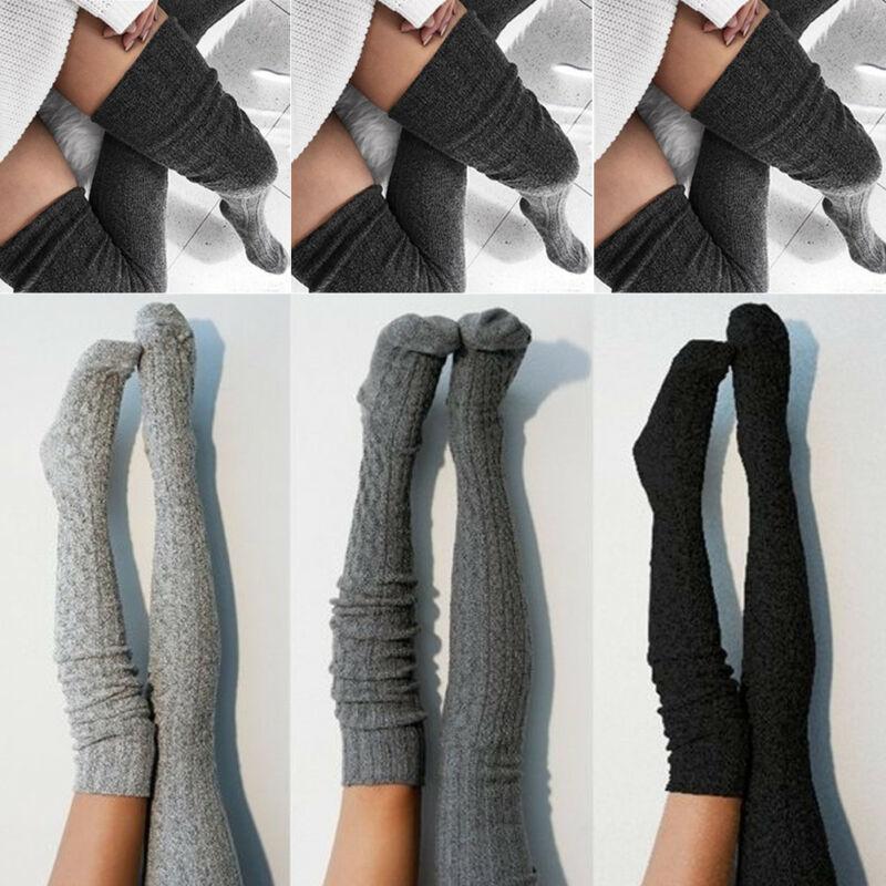 الجوارب أزياء المرأة سيدة كابل متماسكة جوارب طويلة جدا على الركبة الفخذ عالية جوارب الجوارب تقليم