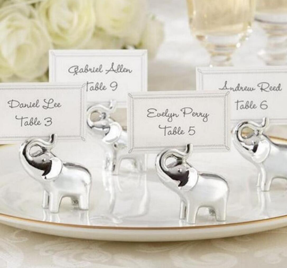 """""""Lucky in Love"""" Silver-Finish Lucky Elephant Place Card/Photo Holder factory Wedding Party & Events"""