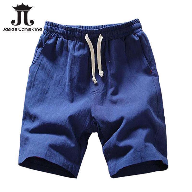 Leinen Shorts für Männer Sommer Plus Größe XXXXL BOARD HALBE KURZE MASSE BERMUDA Masculina Asia M-5XL 005 Herren