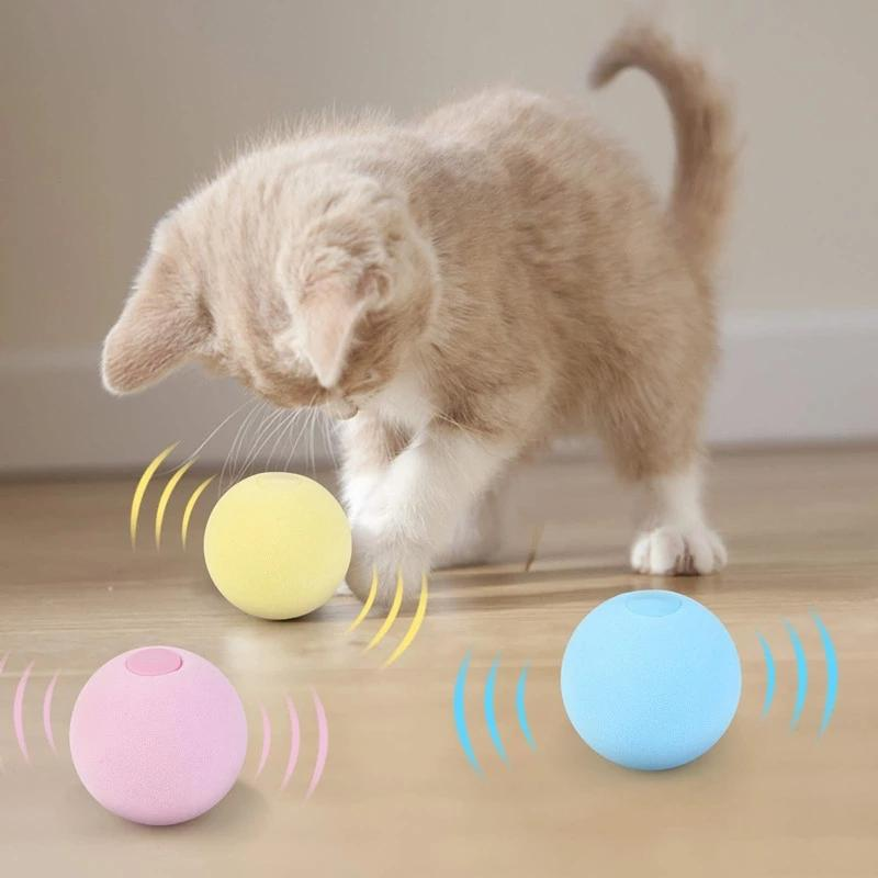 Cat Squeaky Ball Toy Simulation of Automatic Smart Animal Sound Interactive Gravity Catnip Toys for Kitten Kitty Playing