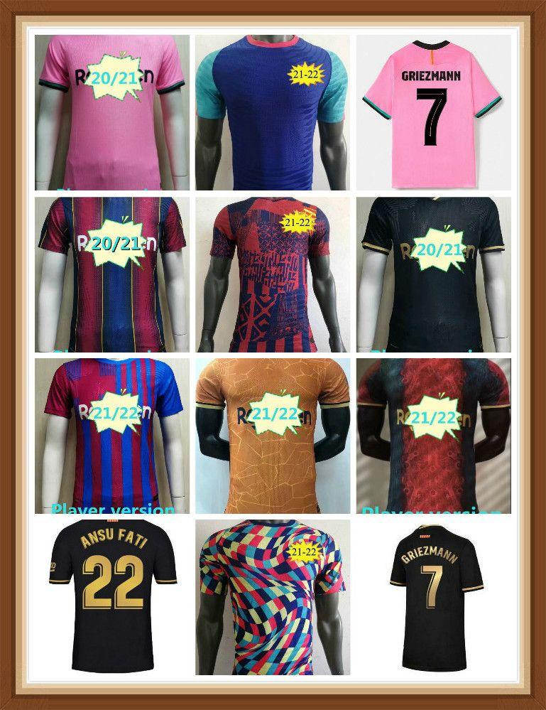 Versión del jugador Soccer Jersey del Jugador Messi 20 21 22 ANSU FATI 2021 2022 Griezmann F. De Jong Camisetas Fútbol Camiseta Kit Hombres