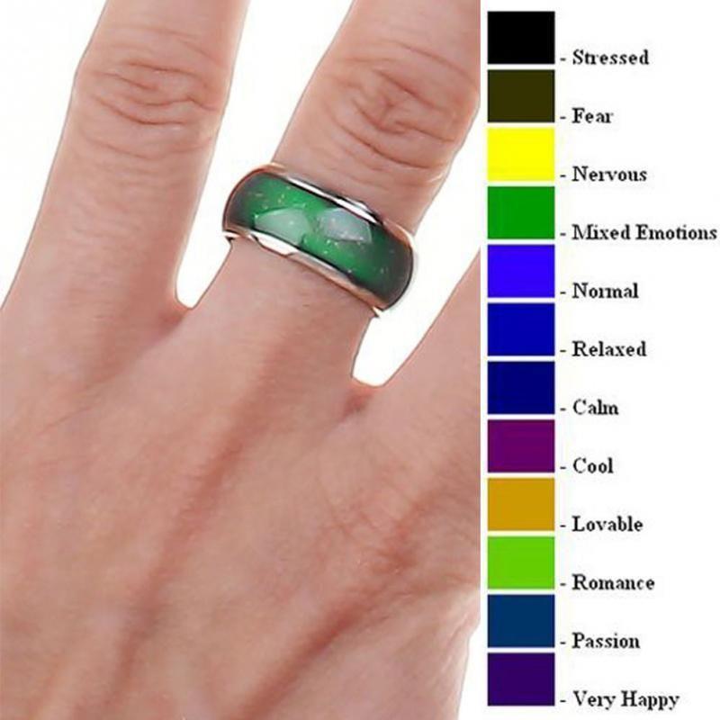 Cambio de anillos de color Anillo de acero inoxidable Emoción de la emoción Temperatura para mujeres Hombres Parejas Tono Joyería fina