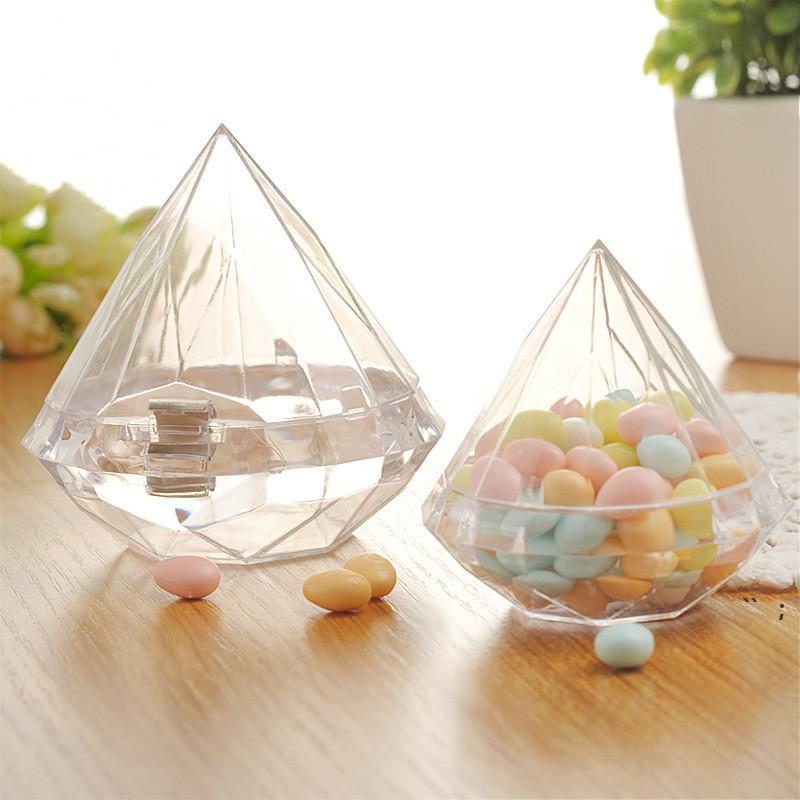 Diamantes caramelo caja regalo envolver boda fiesta casa claro diamante forma transparente plástico estuche creatividad cajas de grado alimento favor bwc7557