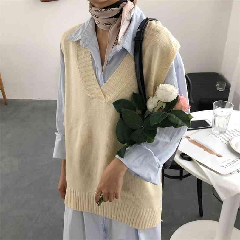 여성 스웨터 여성 겨울 풀 오버 operzie 민소매 소녀 탑스 느슨한 스웨터 니트 겉옷 얇은 섹시한 210423