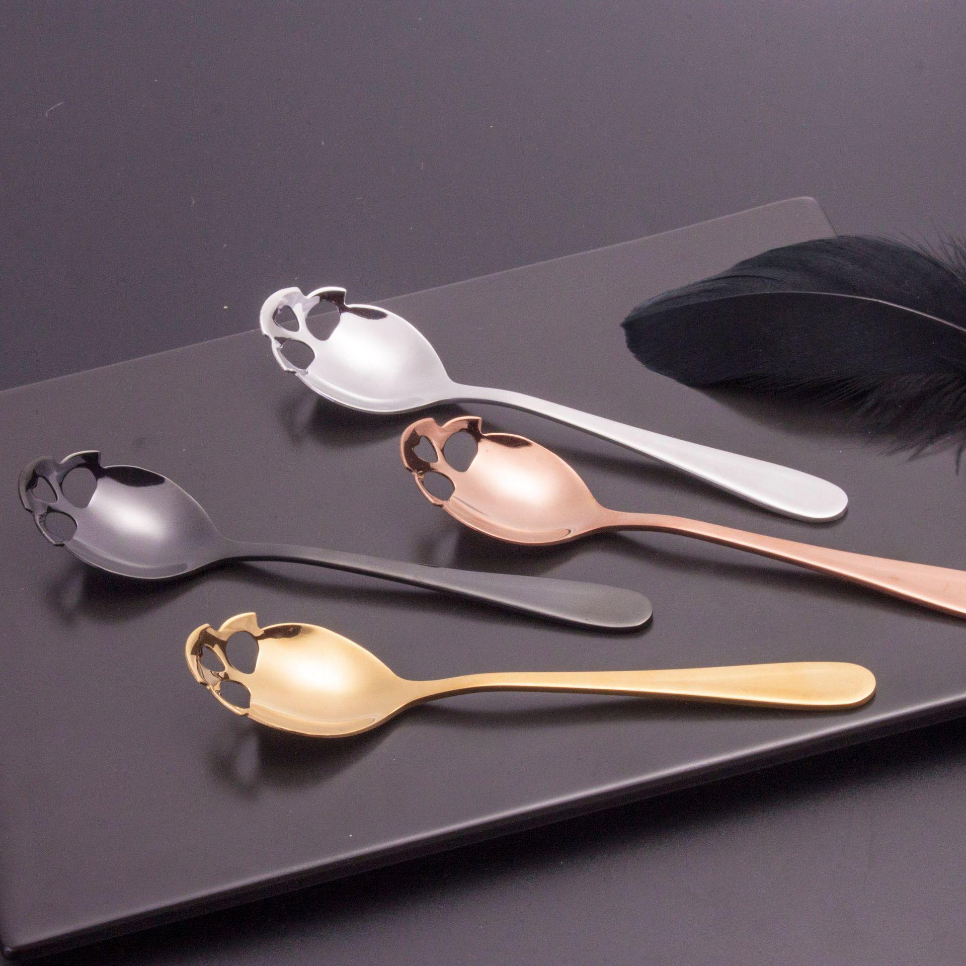 Kafatası Kaşık Kahve Kepçe Çay Kaşığı Çırpılmış Çelik Karıştırma Tatlı Yenilik İçecek Sofra Mutfak Aletleri
