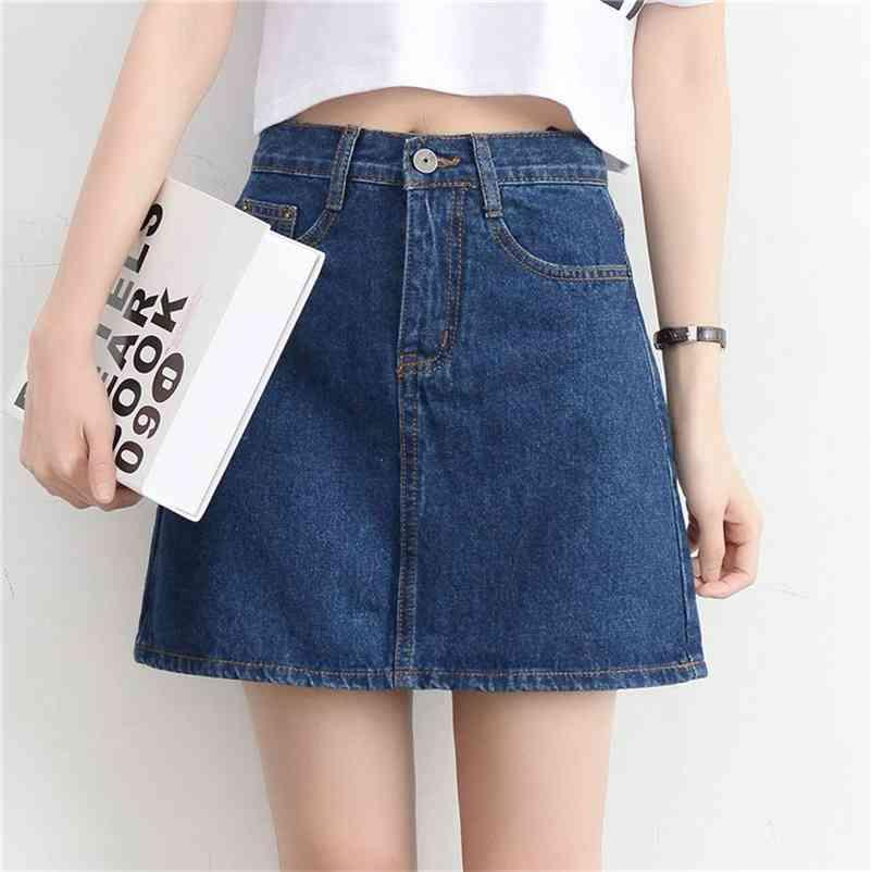 LucyEver Hohe Taille Frauen Denim Minirock Mode Sommer Koreanische A-Linie Jeans Rock Casual Harajuku Plus Größe Faldas Mujer Moda 210412