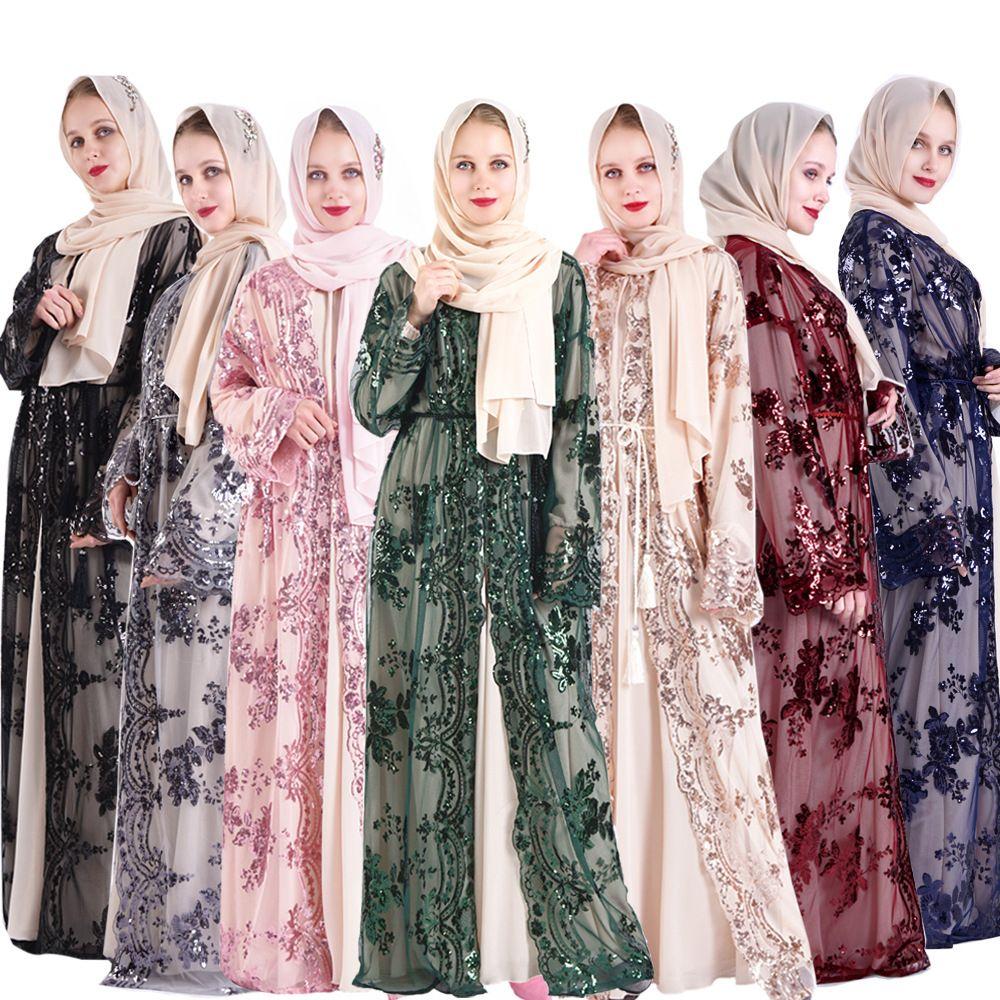 Müslüman Kadınlar Pullu Kimono Günlük Elbiseler Yüksek Kalite Lüks Abaya Nakış Maxi Robe Kaftan Dubai Etnik Giyim