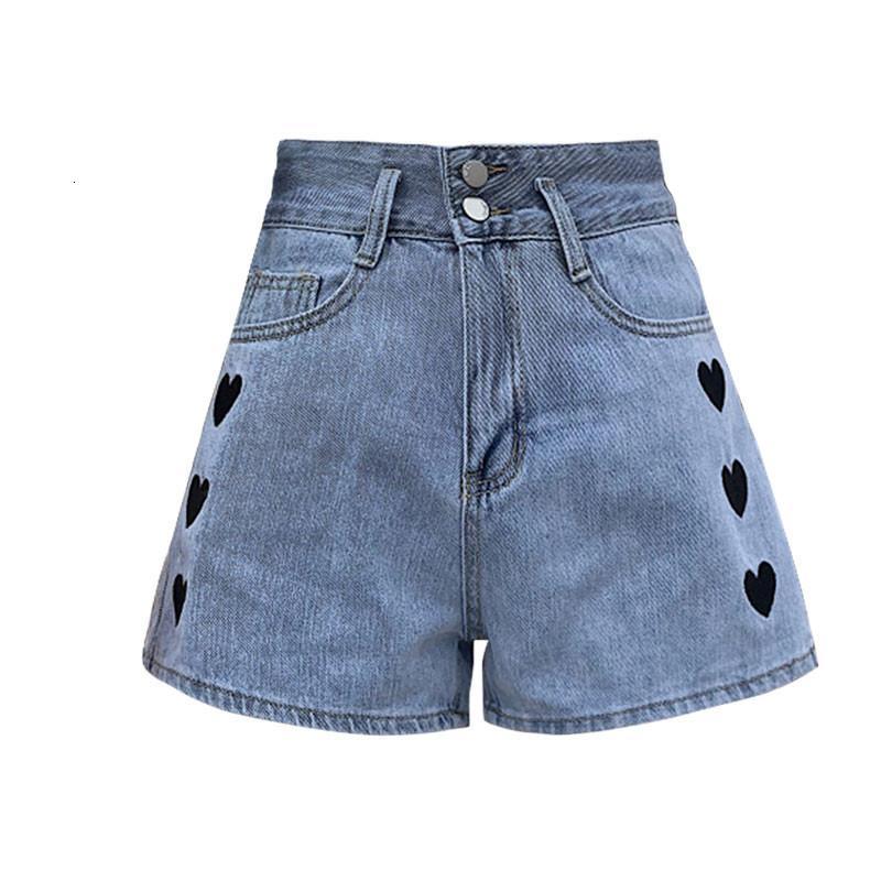 Amor bordado pantalones cortos de mezclilla pantalones vaqueros de mujer verano coreano de cintura alta delgado pantalones de pierna de ancho rectos