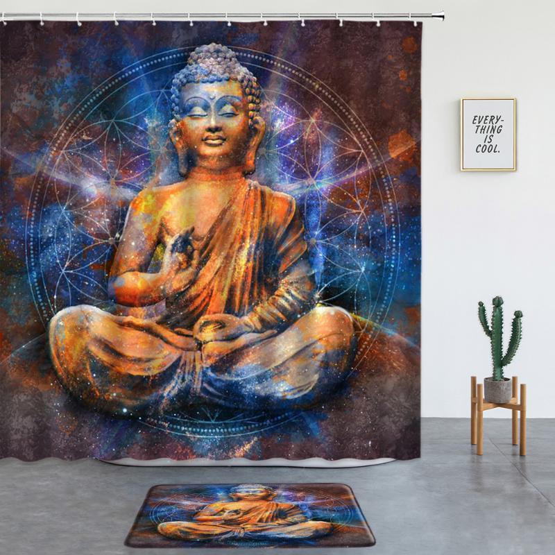 Duş Perdeleri Buda Heykeli Baskı Seti Bohemian Mandala kaymaz Halı Banyo Mat Banyo Dekor Ekran Giriş Kapı