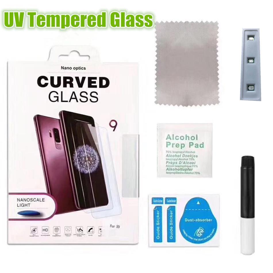 삼성 S21 S20 + 노트 20 UV 곡선 스크린 보호기 20 울트라 S10 3D 5D 강화 유리 슬림 전화 전면 필름