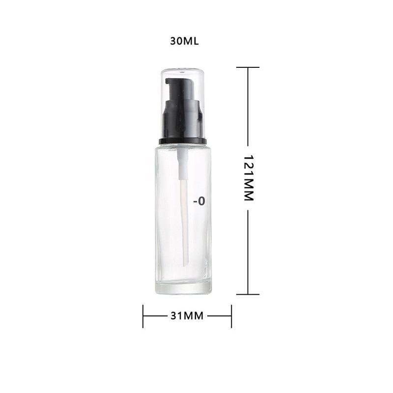 30ml 1 OZ Pompa di lozione in vetro trasparente con bottiglie con pressione nera Pump-head-head vuoto Esempio di contenitore del campione cosmetico per la crema del viso di emulsione OWD10345