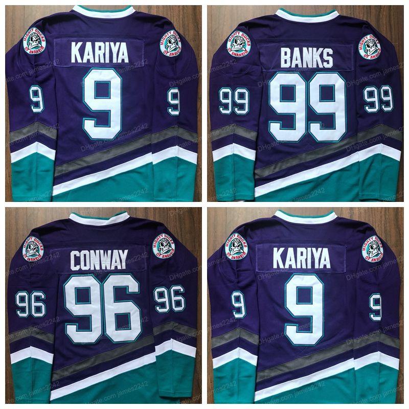Paul Kariya 9 Mighty Ducks Hockey Jerseys 96 Charlie Conway 99 Adam Banken Jersey von Anaheim Film Herren genäht