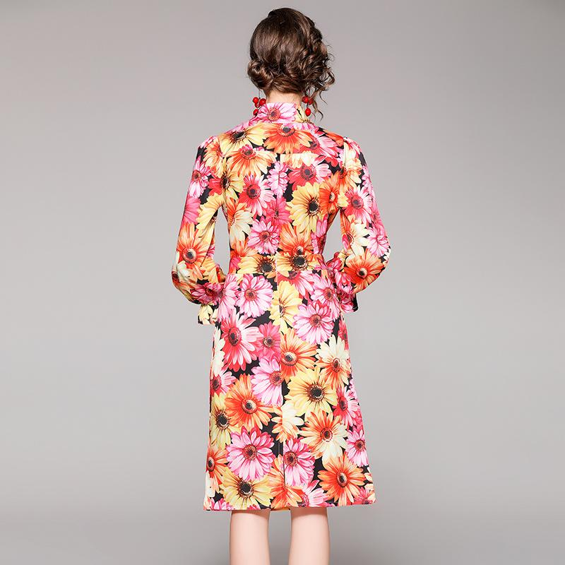 Spring Autumn Retro Floral Dress Suits 2021 Runway Printed Button Up Shirt + Sexy Split Skirt Luxury Designer Resort Party Two Piece Set Office Lady Slim Sweet Cute Sets