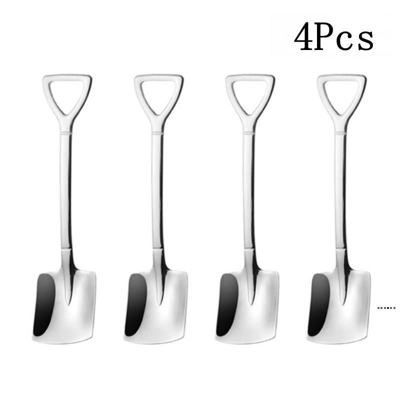 4 adet / takım Kahve Kaşık Çatal Seti Paslanmaz Çelik Retro Demir Kürek Dondurma Kaşık Kepçe Yaratıcı -Spoon HWE5599