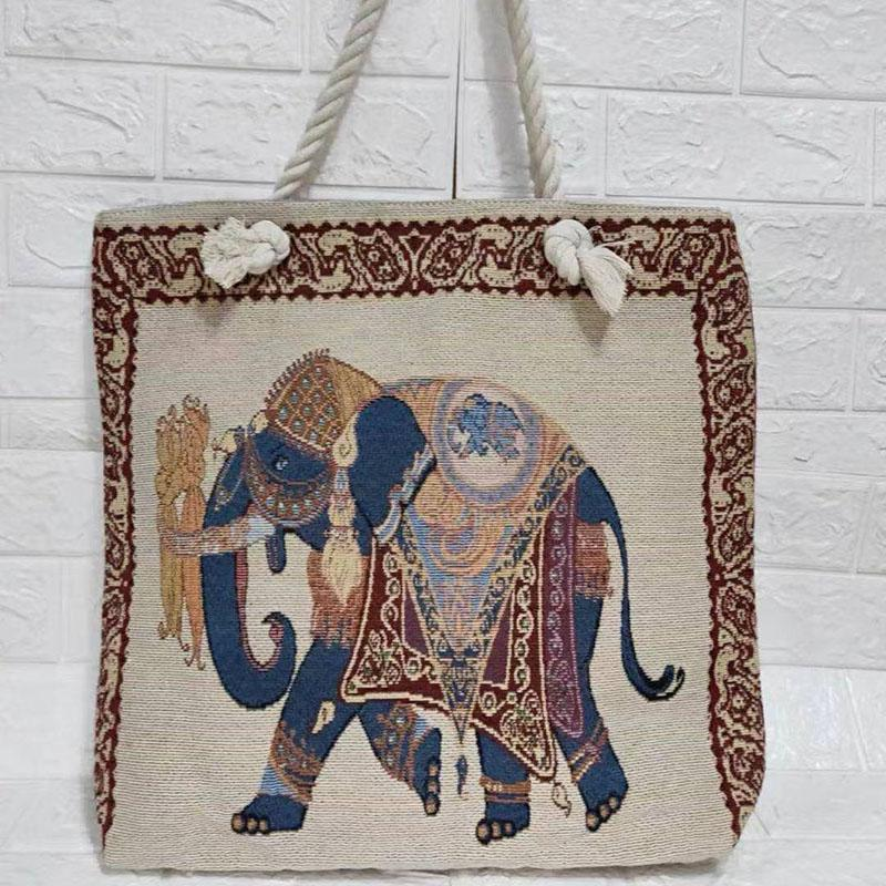 Thai style heavy rope single shoulder women's bag double side linen bagss elephant Tote Bags embroidery bagsss P041