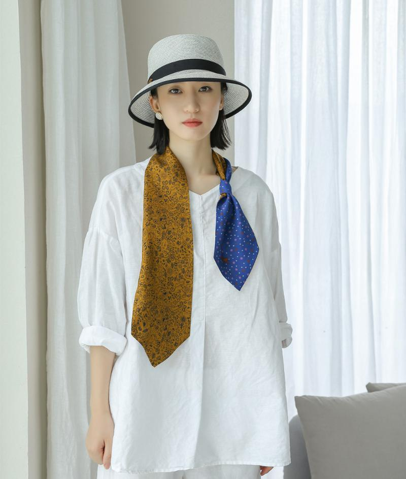 Scarves 14*120cm Small Silk Ribbon Scarf Double-layer Fashion Narrow Joker Double-sided Printed Twill