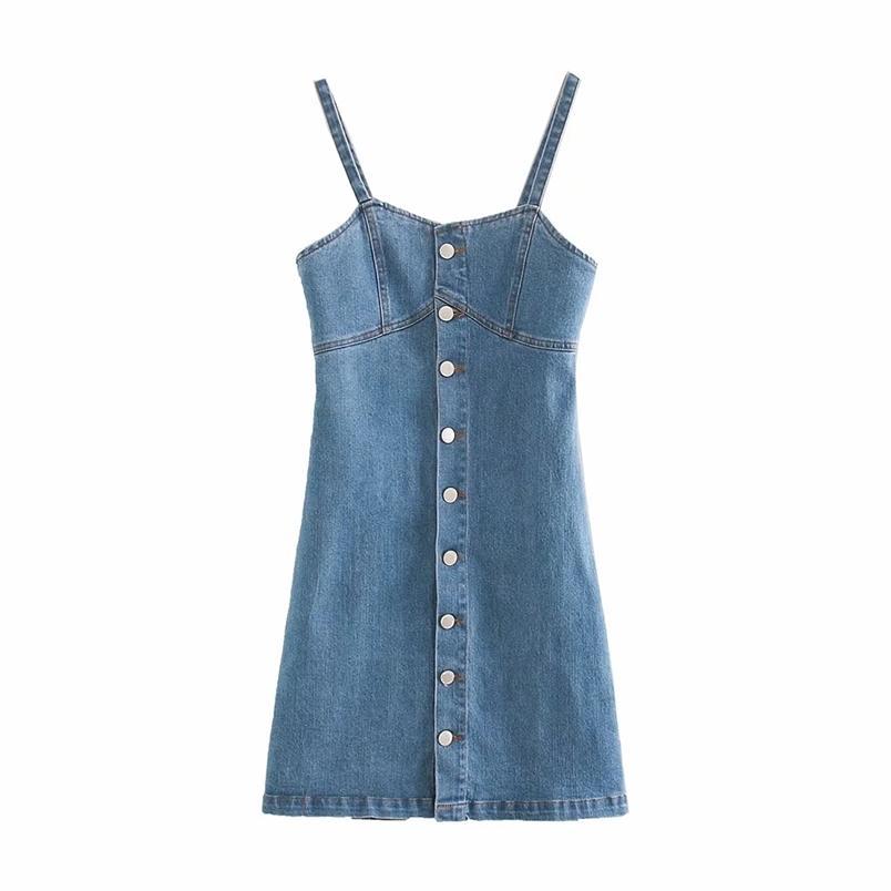 Spaghetti Denim Denim Dress Women Streetwear A Line Bottone Up Femmina Sexy Summeless Summer Summer Mini ES TOX 210531