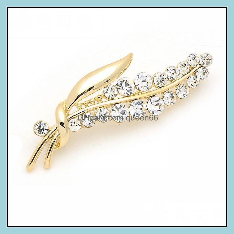 Pins, JewelryFashion Kadınlar Broş Pins Yaprak Lüks Rhinestone Buket Broşlar Yaratıcı Bayan Giyim Aessories Damla Teslimat 2021 4YGMO