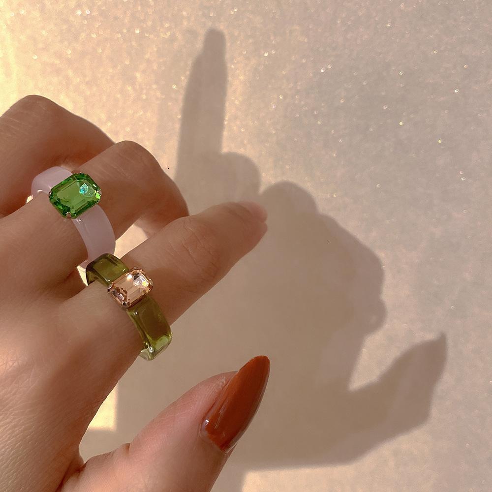 Cor cor coreano ylyl diamante acrílico resina transparente geléia sentimento indicador de dedo design maré