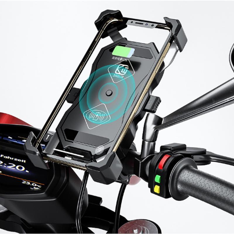 오토바이 전화 홀더 무선 충전기 핸들 바 마운트 자전거 자전거 6.5 '셀 마운트 용 충전 홀더