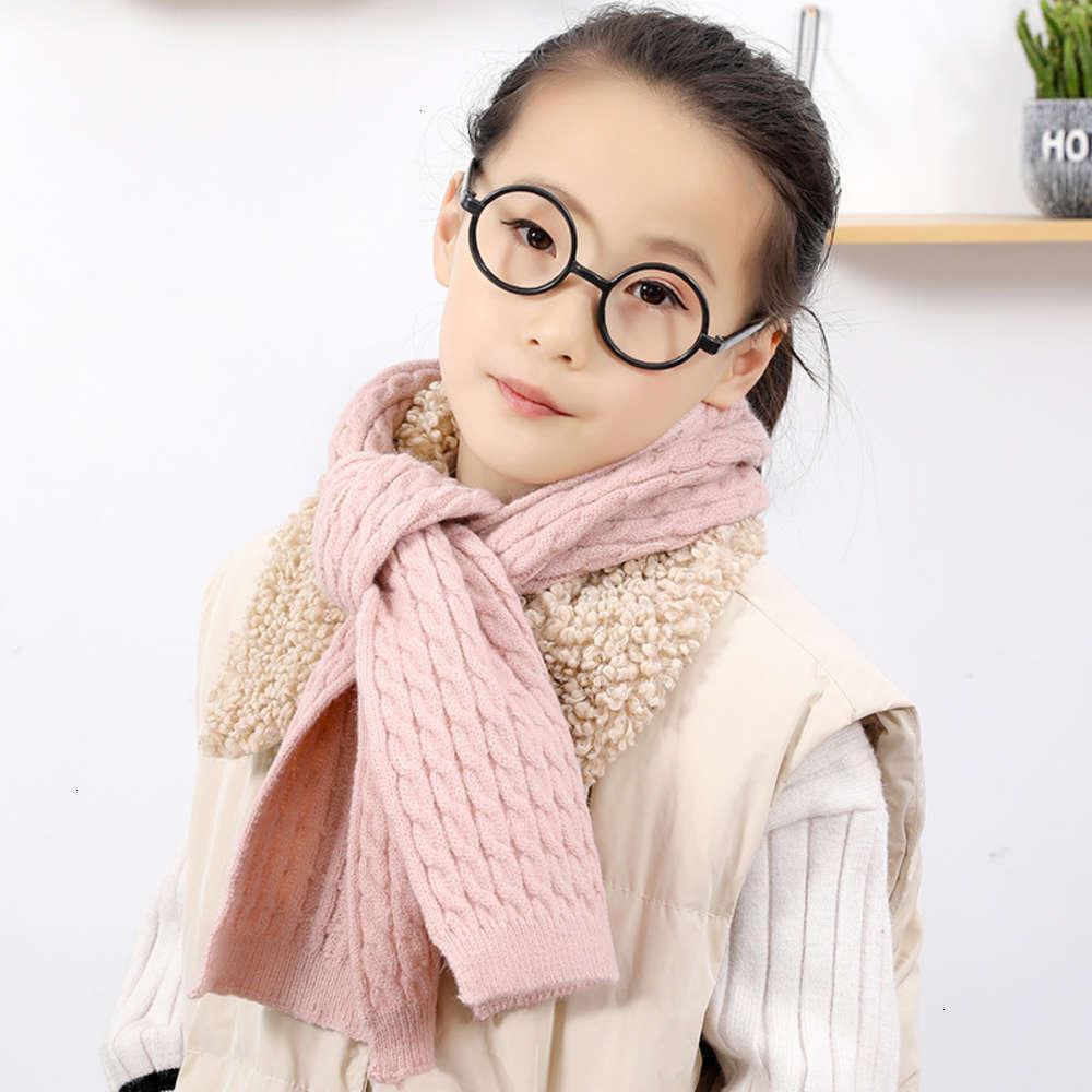 Bufandas envueltas físicas ShootingMonochrome Niños Pure Wool Bufanda Edición Coreana Punto simple Tejido cuello caliente para niños y niñas en invierno