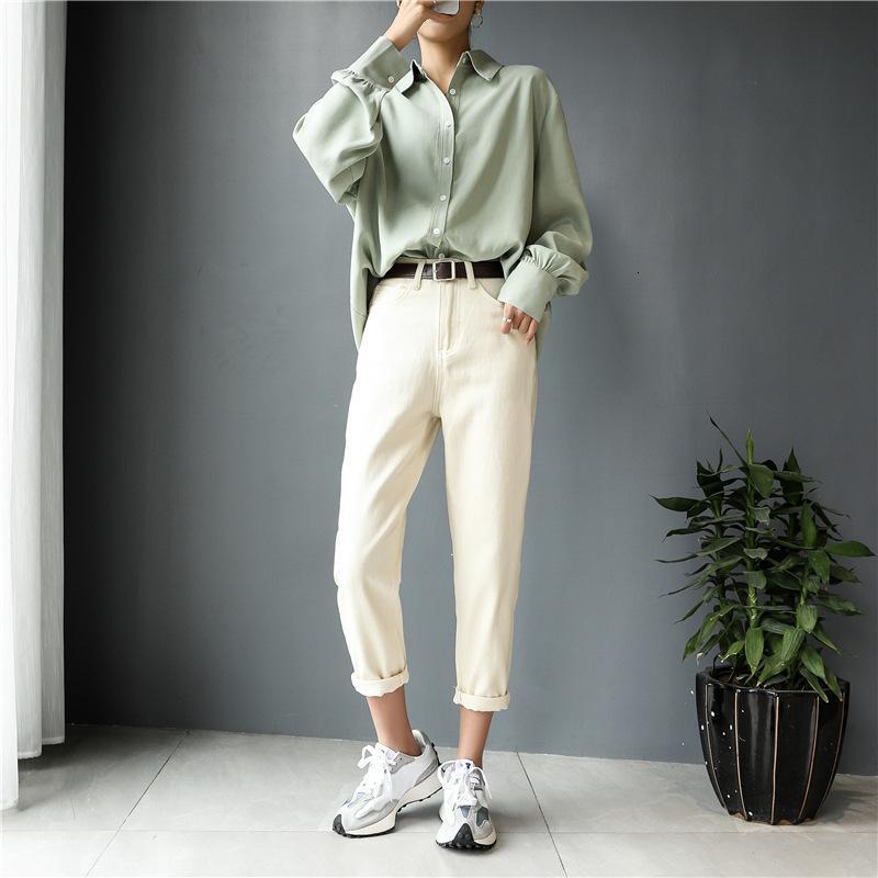 Jeans droit Hiver 2021 Nouveau printemps et automne jambe blanche pour femmes Ku Cropped pantalon petit homme