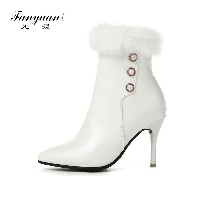 Bottes Fanyuan Winter Femmes Zip Talons hauts Mode Sexy Toe Pointe Toe Ankle Botas Mujer Boucle Goutte