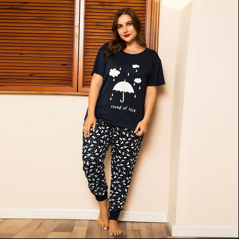 Large Size Pajamas Set Umbrella Womens Sleepwears Print T shirt Trousers Homewear Plus Two Pieces Nightwear Loose Sleepwear