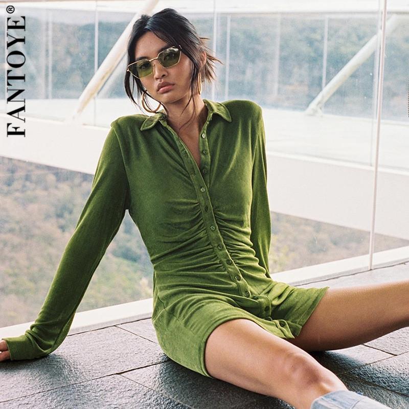 Fantoye плиссированные поворотные воротниковые воротничка блузка платье женщины сексуальные с длинным рукавом мини платья сплошной улицы женская рубашка Vestidos