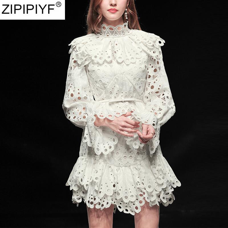 Modedesigner Sexy Aushöhlen Weiß Spitze Kleid 2021 Frauen Stehkragen Full Lantern Sleeve Rüschen Kleider Vestidos Casual