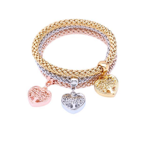 Braccialetto del pendente cuore di fascino di cristallo rosa per le donne che allunga il regalo dei monili della lega del braccialetto spesso nuovo stile