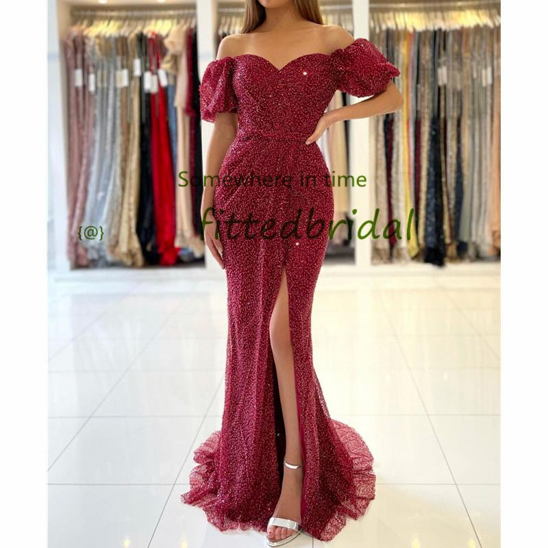 2020 Glitter Burgundy Sequins Mermaid Prom Dresses Sexy African Celebrity Cocktail Party Dress Turkish Islamic Front Split Evening Gowns