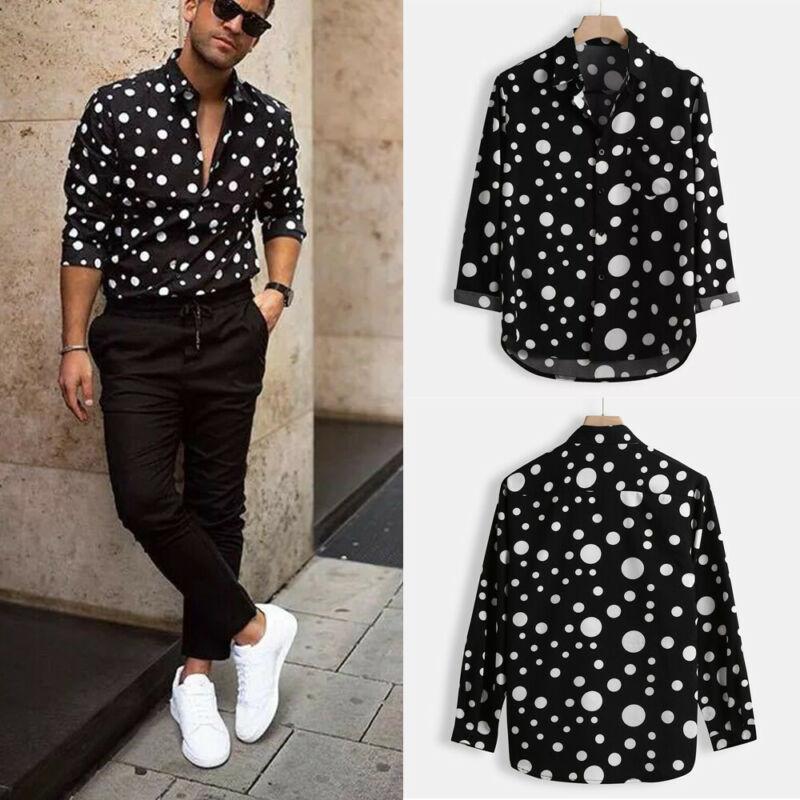 Imbute Mode Herren Polka Dot Shirt Button Down Slim Fit Langarm Boho Feiertag Lässige Hemden Hemden Hemden