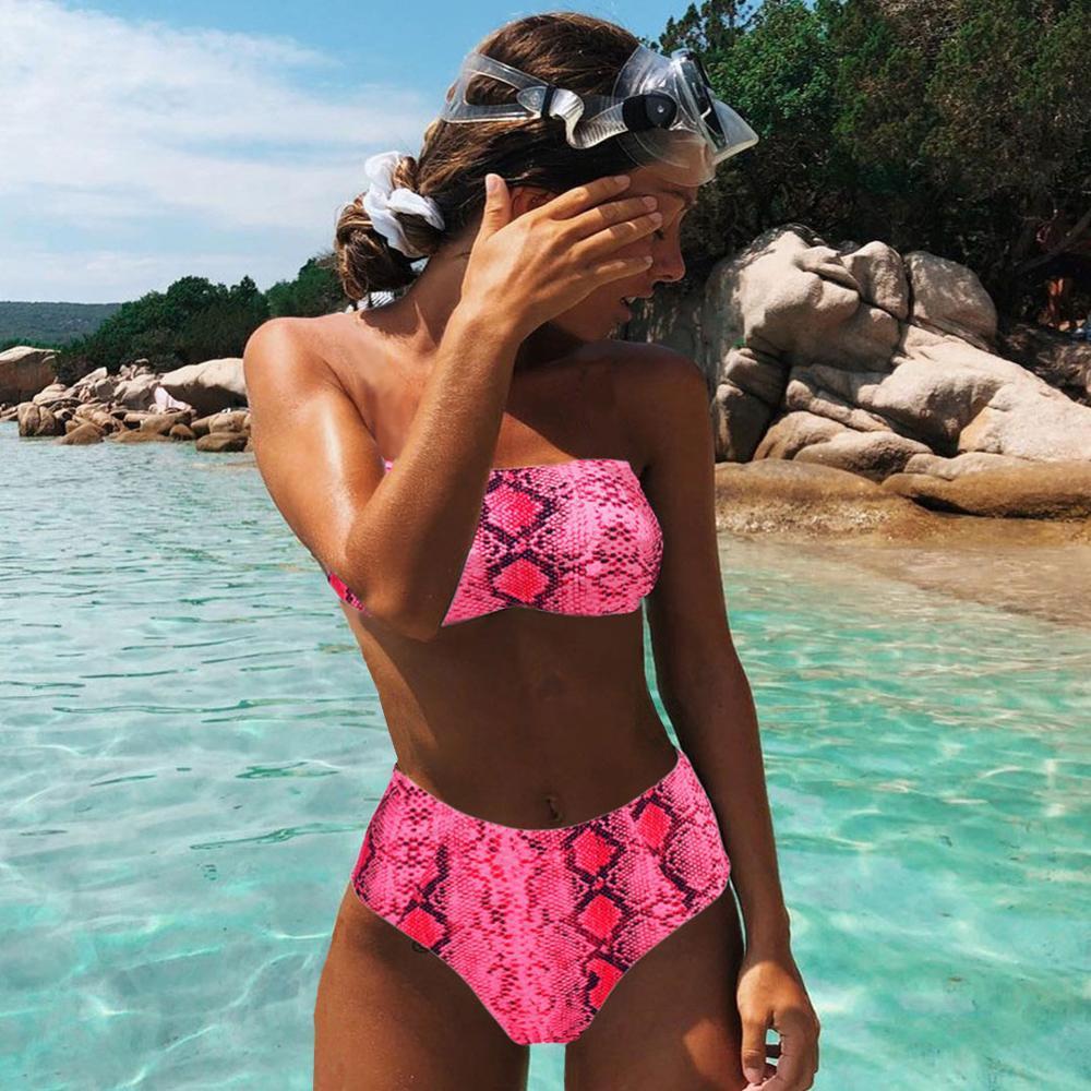 2021Sexy Animal Traje de baño Impreso Femenino Push Up Bikini High Cintura Traje de baño Vendaje Bikinis Bandeau Swimwear Mujeres 2021 Biquini