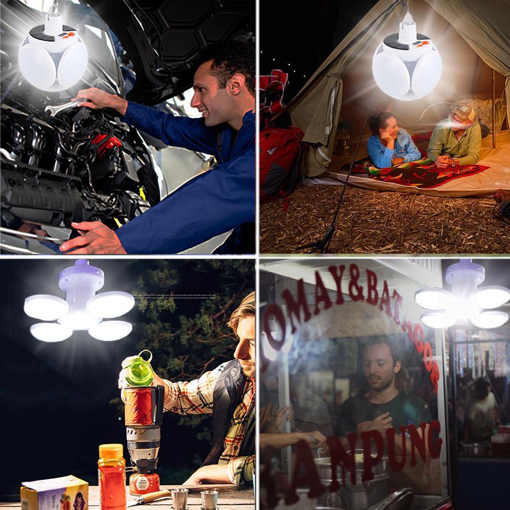 Lanterna conduziu a tenda dobrável luz lâmpada recarregável portátil 45led Luzes solares ao ar livre interior Lâmpada à prova d'água para caminhadas