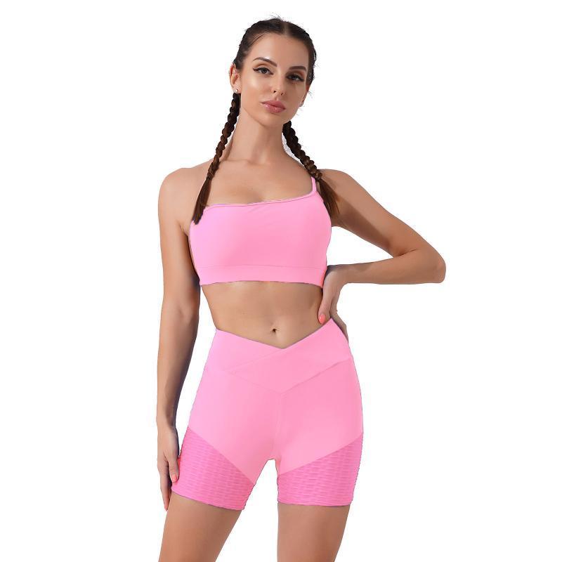 Women's Shorts 2 Pieces Seamless Gym Yoga Set Clothing Sports Bra Tops Workout Running Sportswear Fitness Wear