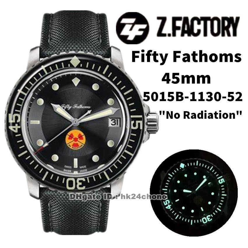"ZF Fábrica Relojes 5015b-1130-52 Cincuenta Fathoms 45mm ""Sin radiación"" CAL.1315 Autoamtic Mens Watch Sapphire Bisel Black Dial Canvas Strap Sports Gents WristWatches"