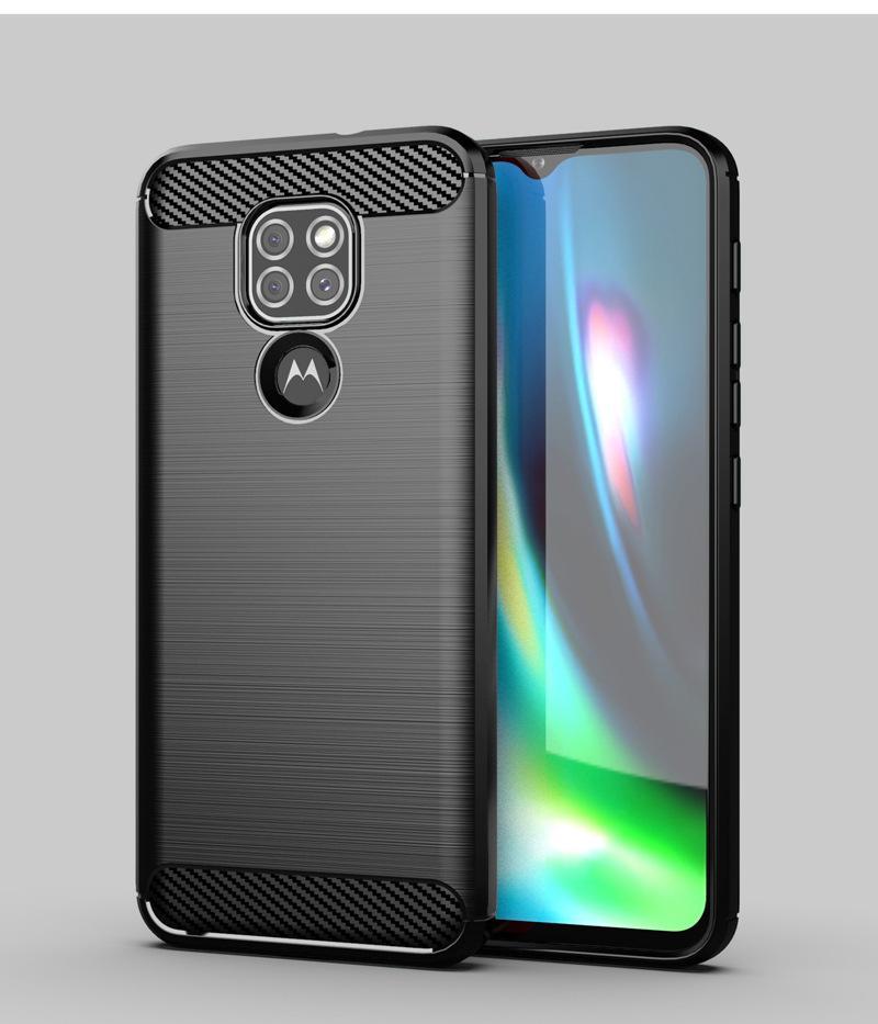Texture de la fibre de carbone Couverture de boîtier TPU brossée pour Motorola Moto G50 G40 G40 Fusion 100pcs / Lot