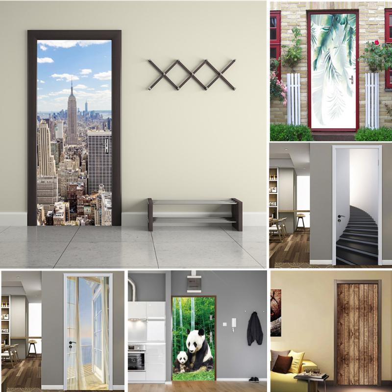 Diğer Dekoratif Çıkartmalar Şehir Manzara Kapı Posteri PVC DIY Kendinden Yapışkanlı Su Geçirmez Duvar Kağıdı Ev Dekor York Kapıları üzerinde Duvar Deurposte