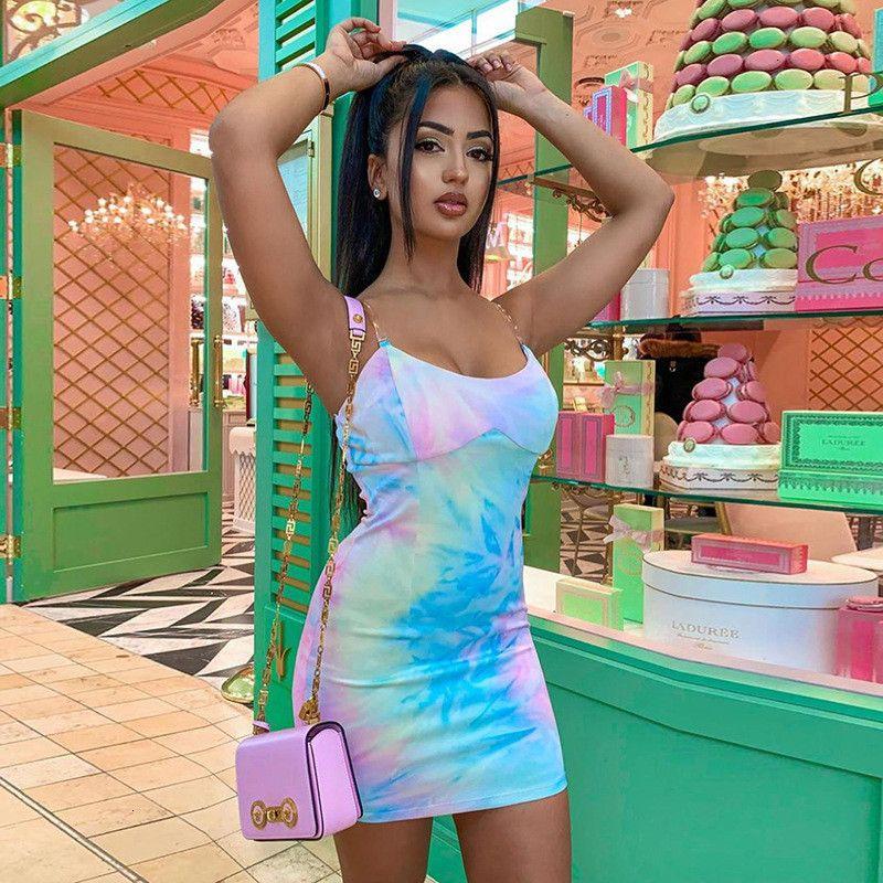 Dress Sexy Colorato Signore Bandaggi Sling Tie Paint Paint Stampe Beach Club Jurk Print BodyCon Party Breve giuria