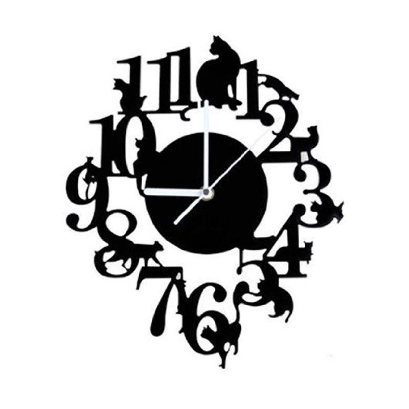 검은 고양이 벽 시계 후크 골동품 실내 스칸디나비아 귀여운 (블랙) 시계