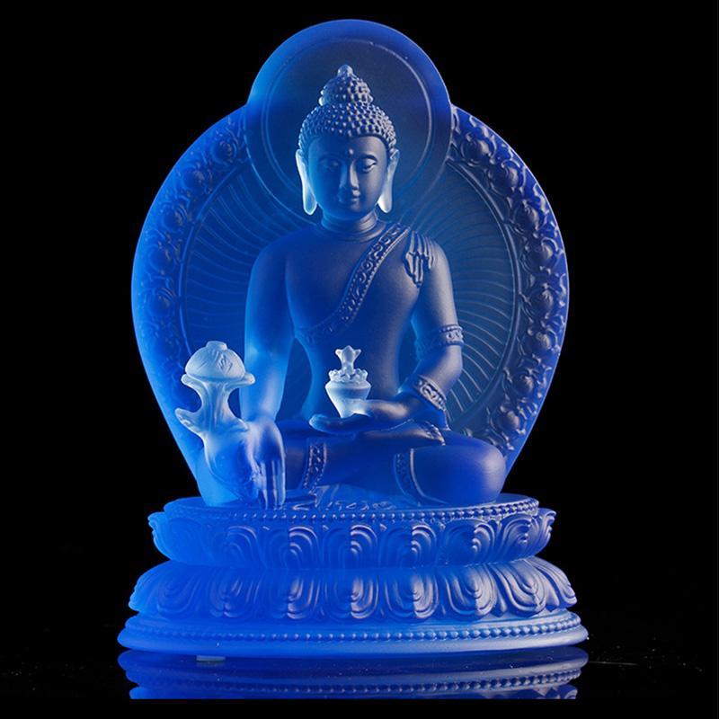 Glassa colorata Artigianato Artigianato Nuovo Buddha Statua Pharmacisti Lapis Lazuli 7 Colori per la scelta Blu Verde Bianco Ambermedicine Guru Guru Buddismo Scupture Vetro antico