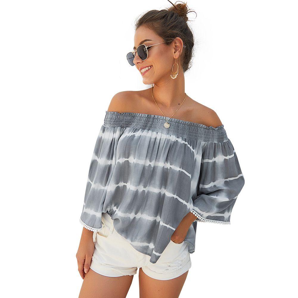 Original design cross-border women's t shirt Amazon 2021 early autum item shoulder nine-point sleeve loose jacket