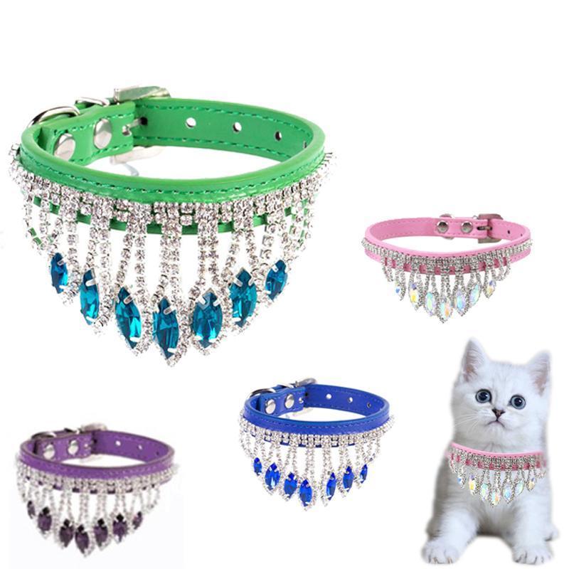 Collares de gatos conduce collar lindo tassel diamante PU cuero cuero ajustable collar retro piedras preciosas mascotas perro cachorro accesorios