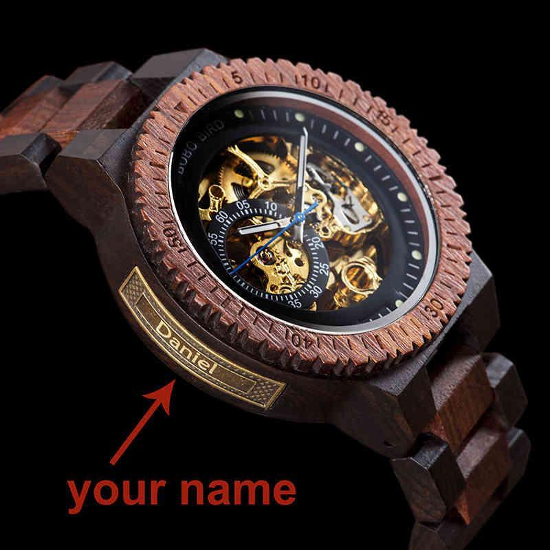 Personalized Customiz часы мужчины BOBO Bird Wood автоматические часы Relogio Masculino OEM юбилейные подарки для него бесплатная гравировка CJ191217