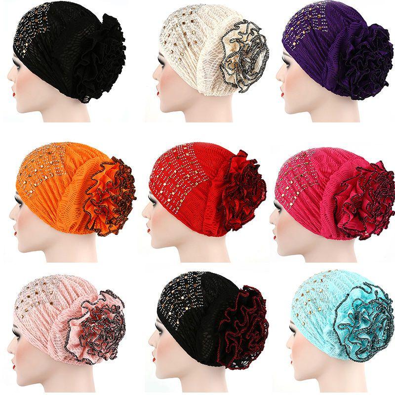 Donne musulmane donne sottoscarf bonnet cofano hijab Caps Inner Caps Chemo Cancer Turban Rhinestone Forestscarf perdita di capelli Covers Head Wrap Hat